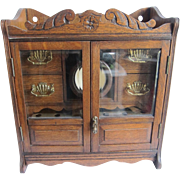 Antique Cigar Humidor, Hanging Smoking Cabinet English Oak