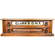 Antique Clarks ONT Wooden 2 Drawer Sewing Spool Display Cabinet Box