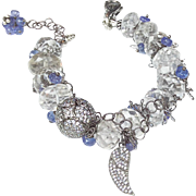 Chunky Citrine, Tanzanite And White Sapphire Angel Wing Bracelet In Sterling Silver