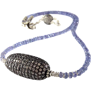 Tanzanite And Pave Set White Sapphire Gemstone Necklace In Oxidized And Sterling Silver