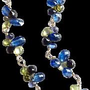 14 Karat Gold Filled Peacock Gemstone Cluster Necklace