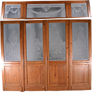 Set of 4 Antique French Etched Glass Doors and Matching Frosted Transom Skylight