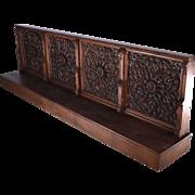 "Antique French Neogothic Oak Wood Prayer Railing Gothic Church Kneeler 112"""