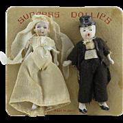 SOLD Vintage Miniature Bride and Groom Dolls on Original Card