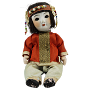 Vintage Chinese Bisque Head Doll Silk Clothing