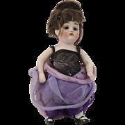 """Antique German Sleepy Eye All Bisque Fancy Lady Doll 4-1/2"""""""