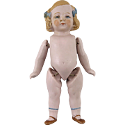 """SOLD German Bisque Painted Golden Hair Doll with Blue Bows 5"""""""