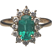 SALE 14 Karat Yellow Gold Emerald Ring with Diamond Halo