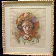 Vintage Original Harlequin Child- Signed & Numbered Lithograph-PHILIPPE ALFIERI (Italian Artis