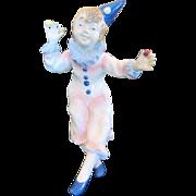 Vintage East German GDR (German Democratic Republic) Porcelain Harlequin Clown Figurine-Post .
