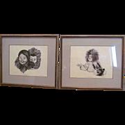 REDUCED- Vintage RARE Framed Set - Eskimo Children- Original Ink on Paper- FAYMA ROBINSON- ...