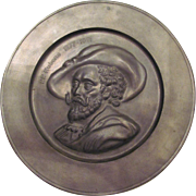 Vintage Pewter Decorative Plate with Bust of Belgian Artist, Peter Paul Rubens (1577-1641) ...