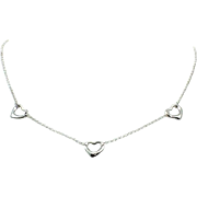 Retired Tiffany & Co. Sterling Silver Elsa Peretti Triple Open Heart Necklace