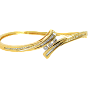 SALE Diamond 14k Yellow Gold Bangle Bracelet