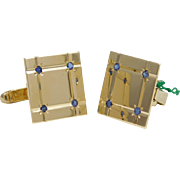 SALE Vintage 14 Karat Yellow Gold and Sapphire Gents Cuff Links