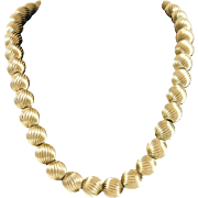 SALE 14k Gold Beaded Necklace
