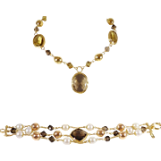 SALE 18K Hand Crafted Vintage Italian Bracelet and Necklace Set with Smoky Topaz, Citrine, and