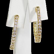 SALE 14k Yellow Gold and Diamond Oval Hoop Earrings