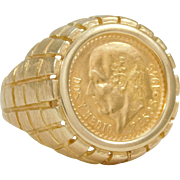 SALE 14k Gold Ring Featuring the 1945 Mexican Gold Coin