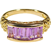 SALE Ladies Amethyst Yellow Gold Ring