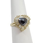SALE 14 Karat Yellow Gold Heart Shaped Sapphire and Diamond Ballerina Ring
