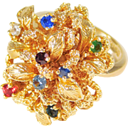 SALE Unique 14k Gold Ring with 8 Gemstones