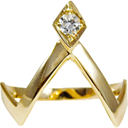 SALE 14k Yellow Gold Wishbone Ring with Brilliant Round Diamond