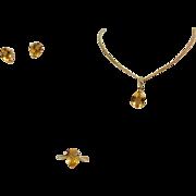 SALE 10 Karat Yellow Gold Citrine Ring, Earring, & Pendant Set