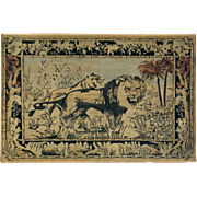 SALE Antique 1900 Agra 4X6 Lions Oriental Hand Knotted Wool Area Rug Carpet 400 KPSI