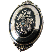 Beautiful gold Filled Brooch with Black Enamel and Seed Pearl