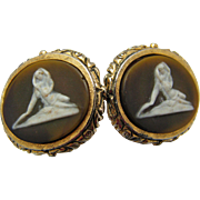 Vintage Cufflinks Lovers Nude goddess Incolay Masterpiece Collection by Dante