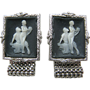 Vintage Wrap Cufflinks Incolay Cameo Classics- Couple Lovers by Swank
