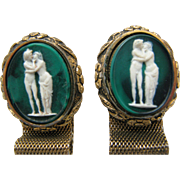 "Vintage Wrap Cufflinks ""The Kiss"" Cameo Incolay Masterpiece Collection by Dante"