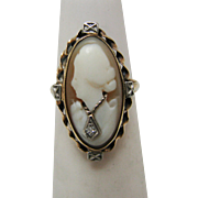Carved Shell Cameo Ring in 10 k Yellow gold with Diamond Necklace