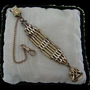 Unique Geometric Bar Link Vintage Fob w/ Pocket Watch Chain on Waist clip