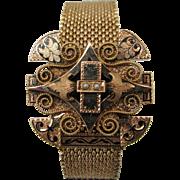 Victorian Style 14 karat Yellow Gold Slide Mesh Wedding Bracelet