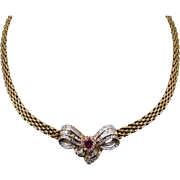 Stunning Diamond and Ruby Necklace in 18k Yellow Gold From the 1950's