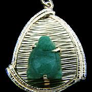 Beautiful 14k Yellow Gold Triangle Pendant with Jade Buddha