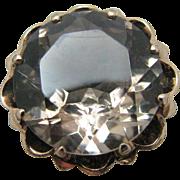 Large Vintage Light Grey Quartz Ring in 10k Yellow Gold Mounting