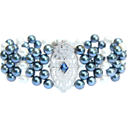 Hand Woven Something Blue Vintage Filigree Sapphire and Cultured Pearl Bracelet