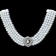Pearl Drop Sapphire and Diamond Filigree Necklace