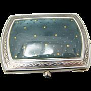 Beautiful Enameled Vintage Sterling Silver Vesta Case, Wallet, or Card Case