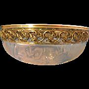 Antique French Sterling Silver et Crystal, Salad Bowl 7 3/4''
