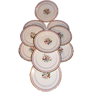 Exquisite set of 10 French dessert plates. Old Paris porcelain. Circa 1840