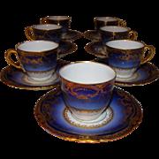 7 Coffee cups Sublime porcelain Theodore Haviland Limoges France. Antique Cobalt Ranson. ...