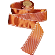 old silky double sided ribbon, taffeta French gilt copper + 355 inches long