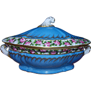 Antique French porcelain Sevres style big bonboniere or small tureen
