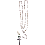 French rosary silver and translucent crystal vintage and new stock # 3
