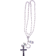 French rosary silver and translucent crystal vintage and new stock # 4