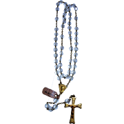 French Rosary gold plated crystal and translucent vintage and new stock # 6